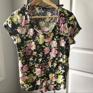 Lucky Brand Black Flower Top -- Size Large